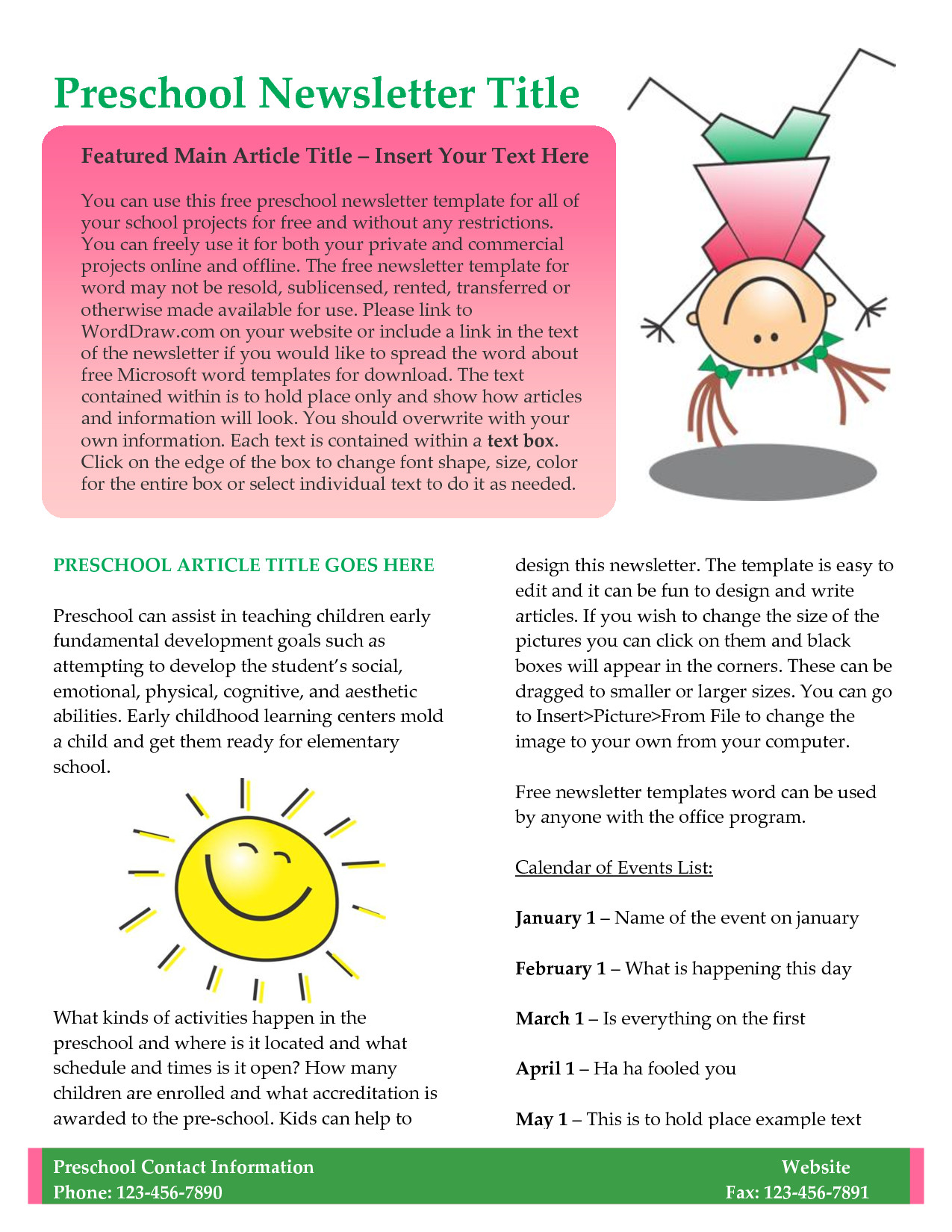 Newsletter Templates for Teachers Preschool Newsletter Template