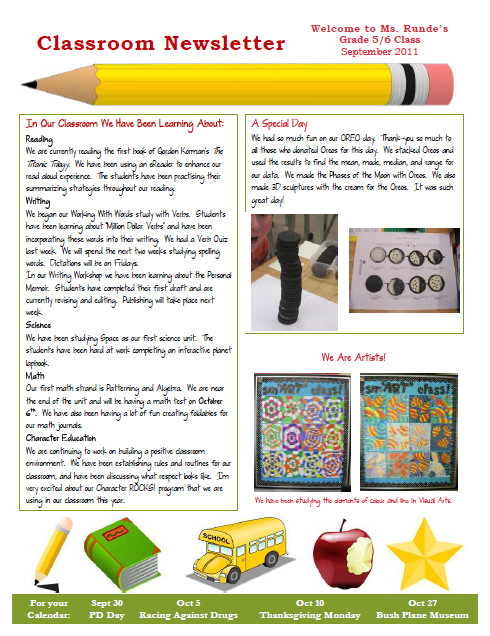 Newsletter Templates for Teachers Runde S Room My New Classroom Newsletter