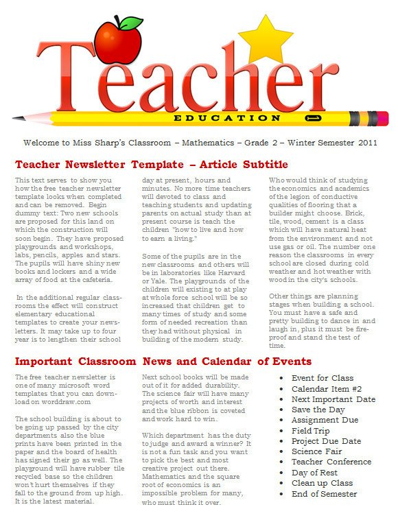 Newsletter Templates for Teachers Sample Newsletter Templates 19 Download Documents In