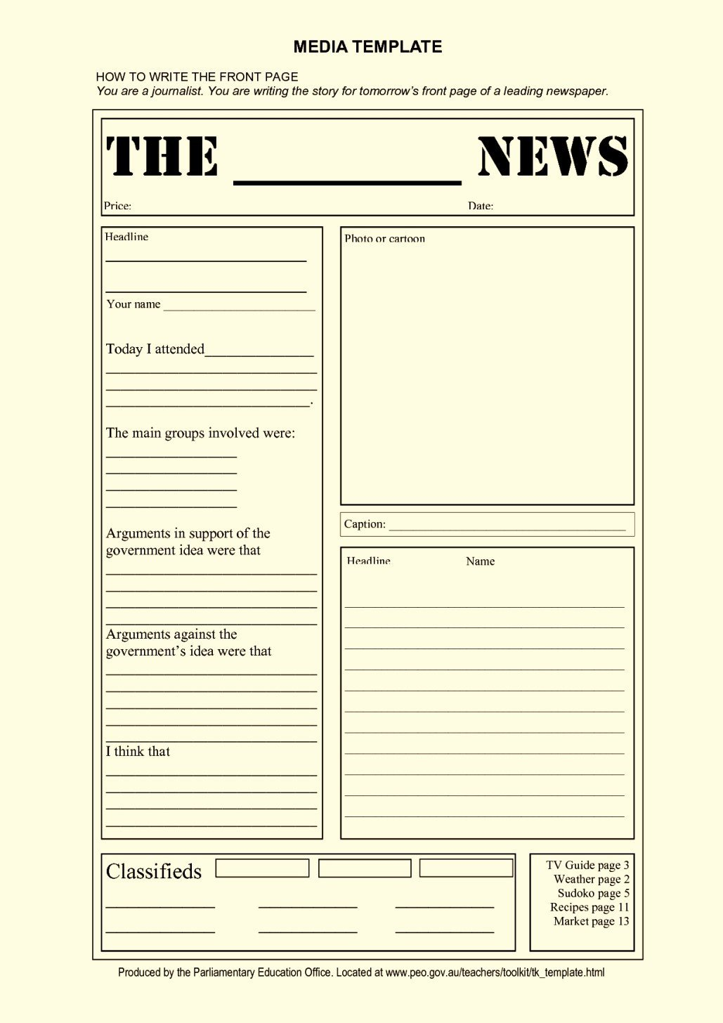Newspaper Template for Kids Blank Newspaper Article Template for Kids Template