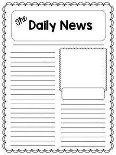 Newspaper Template for Kids Blank Newspaper Template for Kids Printable