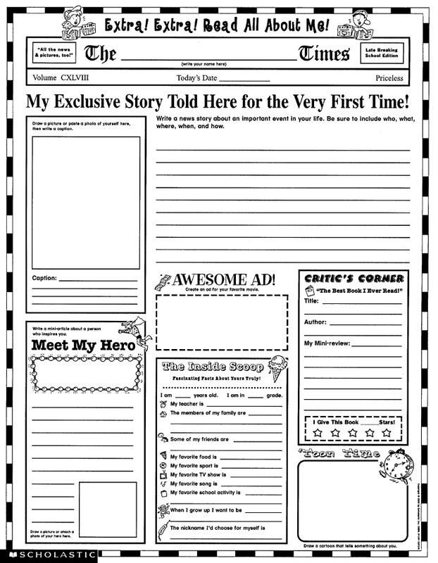 Newspaper Template for Kids Colonial Newspaper Template for Kids