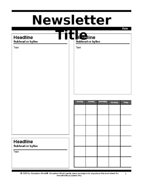 Newspaper Template for Kids Newspaper Template for Kids