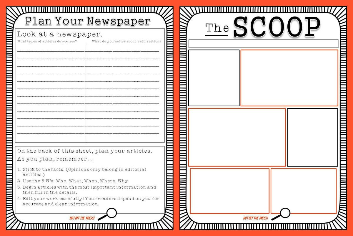 Newspaper Template for Kids Student Newspaper Template Classroom Freebies