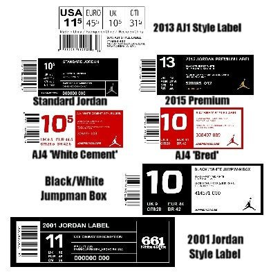 Nike Box Label Template Large Jordan Shoebox Label for Custom Sneaker Storage