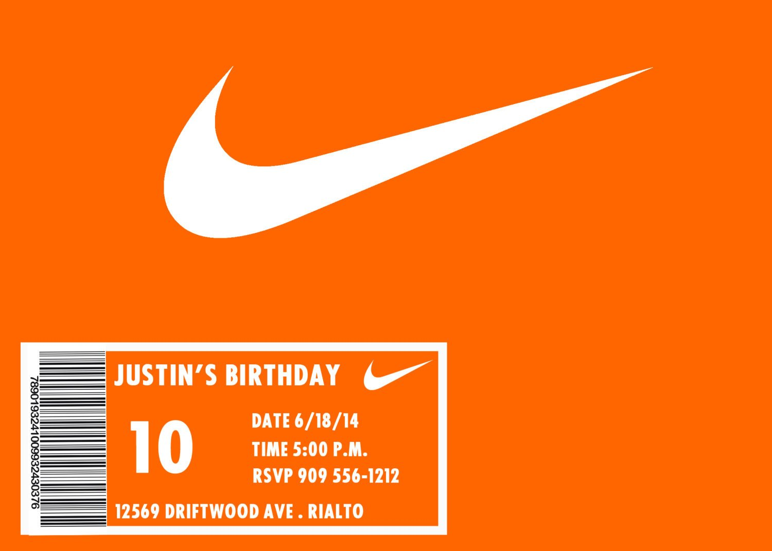 Nike Box Label Template Nike Invitation