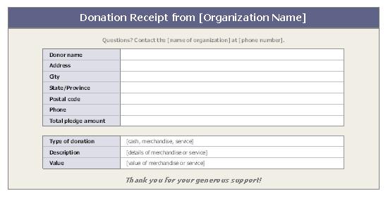 Non Profit Invoice Template Donation Receipt
