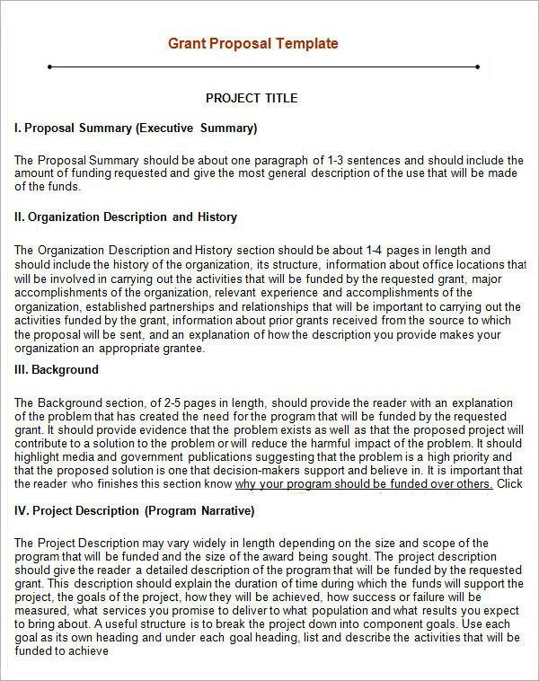 Non Profit Proposal Template 17 Sample Grant Proposal Templates Word Pdf Pages