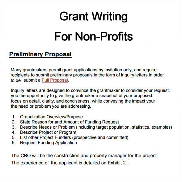 Non Profit Proposal Template 6 Grant Proposal Templates Pdf Doc Download