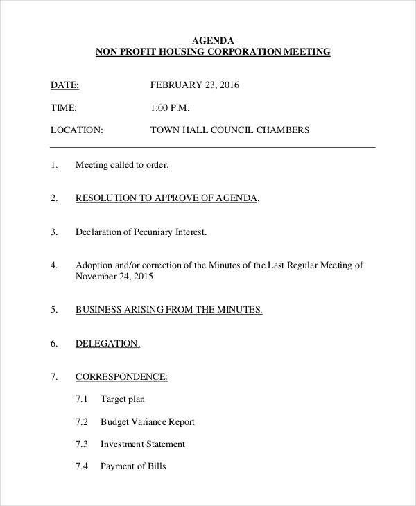 Nonprofit Board Meeting Agenda Template 6 Examples Of Nonprofit Agendas