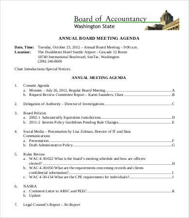 Nonprofit Board Meeting Agenda Template 9 Board Agenda Templates Free Sample Example format