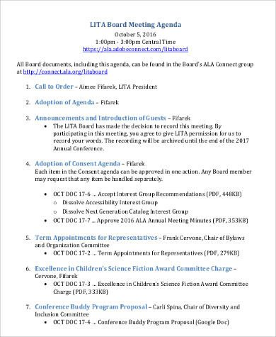 Nonprofit Board Meeting Agenda Template Agenda format Sample 30 Examples In Word Pdf