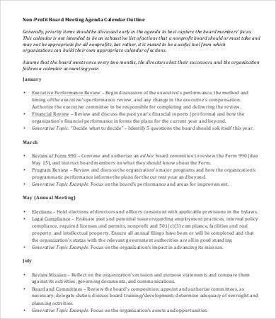 Nonprofit Board Meeting Agenda Template Board Meeting Agenda Template 8 Free Word Pdf Documents
