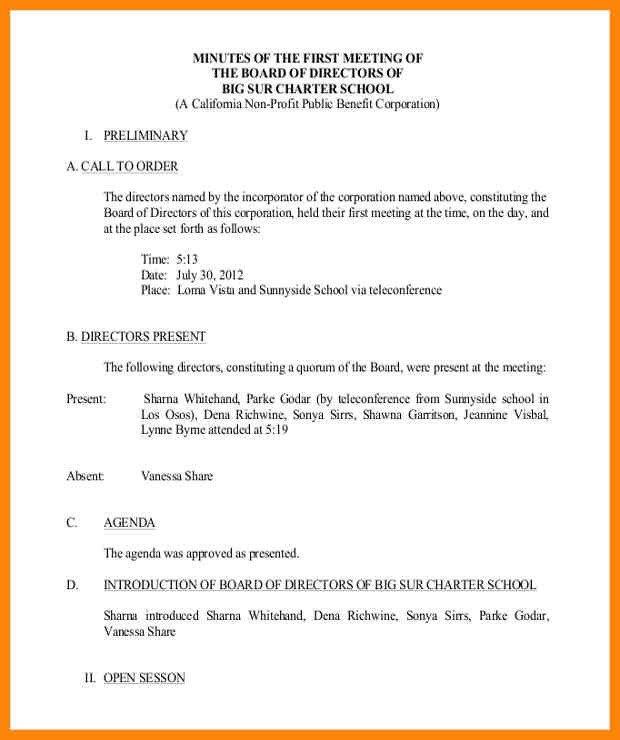 Nonprofit Board Meeting Agenda Template Sample Non Profit Board Minutes