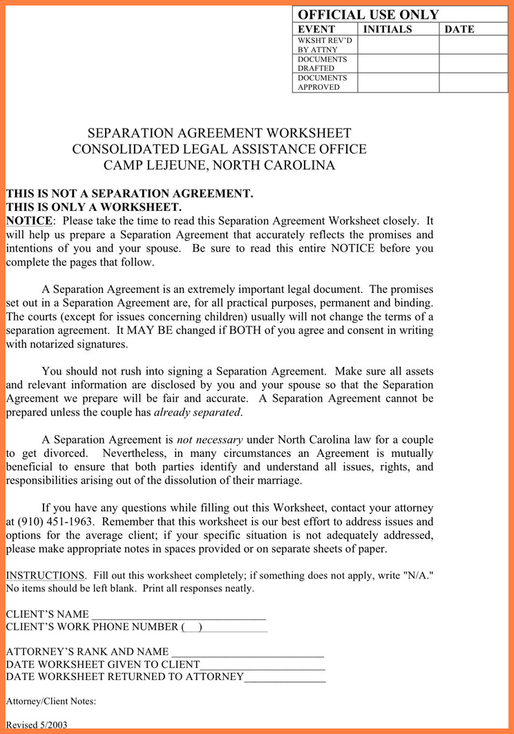 Notarized Custody Agreement Template 6 Notarized Separation Agreement Massachusetts