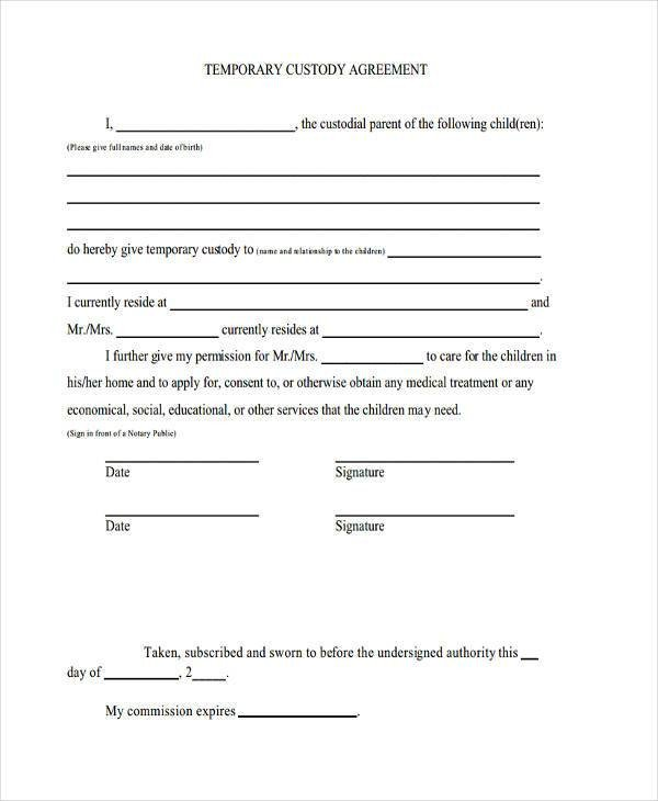 Notarized Custody Agreement Template 8 Custody Agreement form Samples Free Sample Example