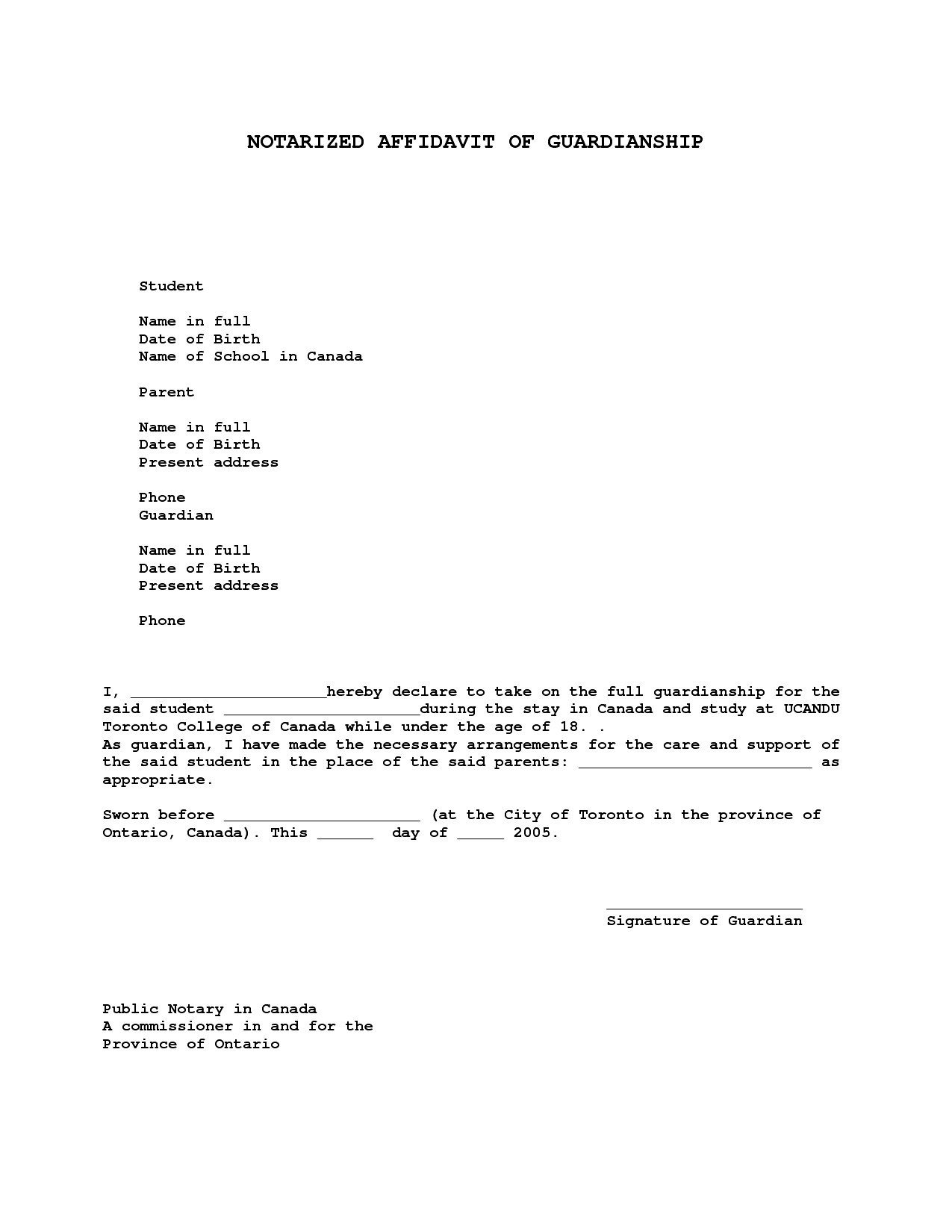 Notarized Custody Agreement Template Notarized Letter for Guardianship Template Collection