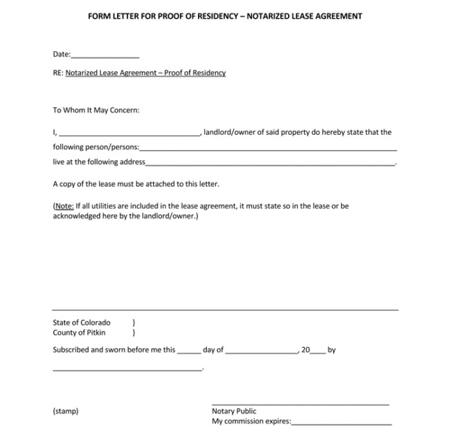 Notarized Letter Of Residency 25 Notarized Letter Templates & Samples Writing Guidelines