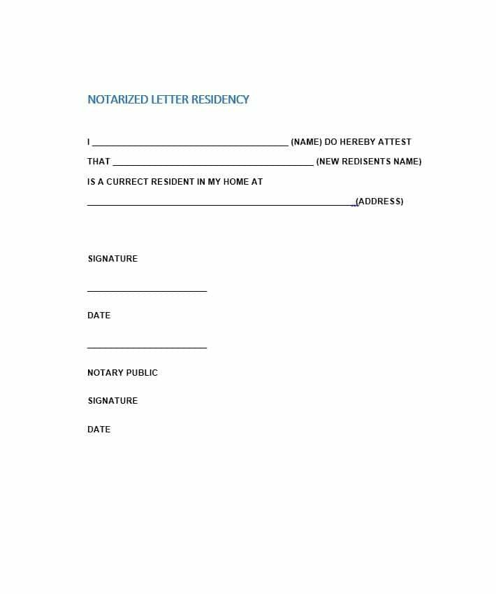 Notarized Letter Of Residency Free Notarized Letter Template Sample format Example