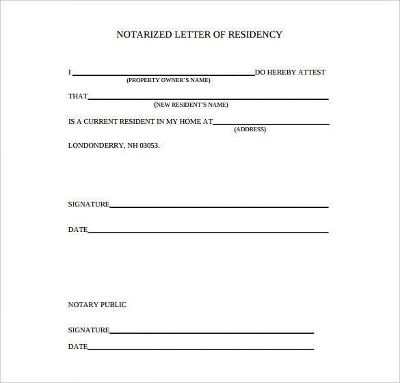 Notarized Letter Of Residency Notarized Document Template
