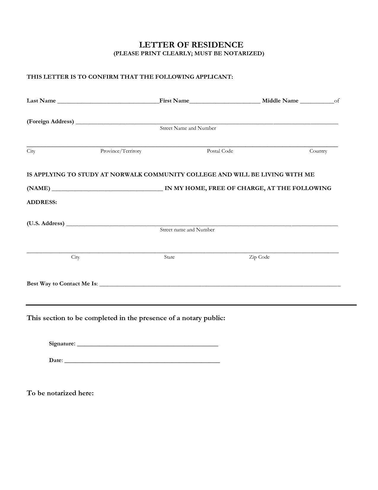 Notarized Letter Of Residency Notarized Letter Sample Residence Flowersheet