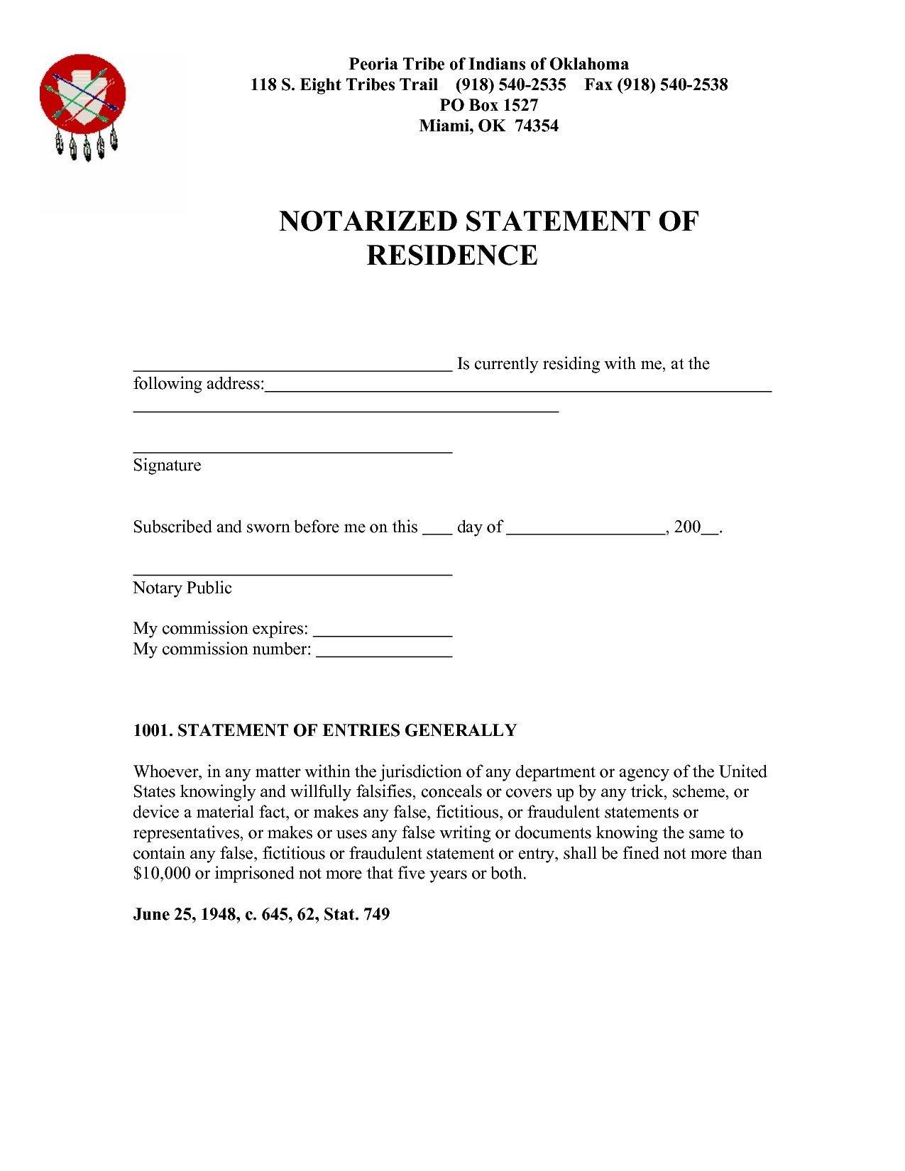 Notarized Letter Of Residency Notarized Proof Residency Letter Sample Flowersheet