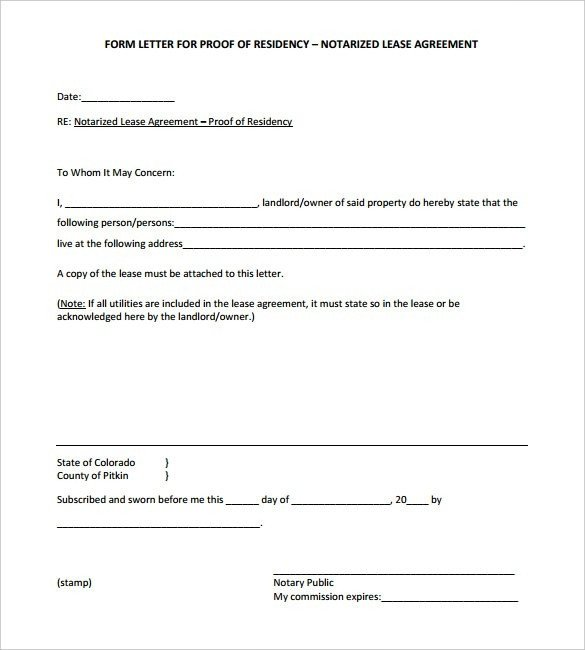 Notarized Letter Of Residency Notarized Proof Residency Template Flowersheet