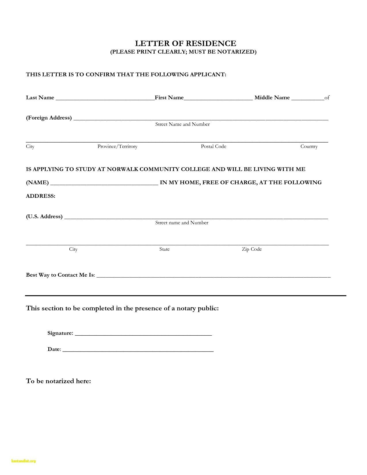 Notarized Letter Of Residency Notarized Proof Residency Template Flowersheet
