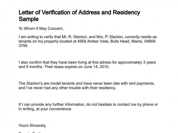 Notarized Letter Of Residency Proof Residency Letter Notarized
