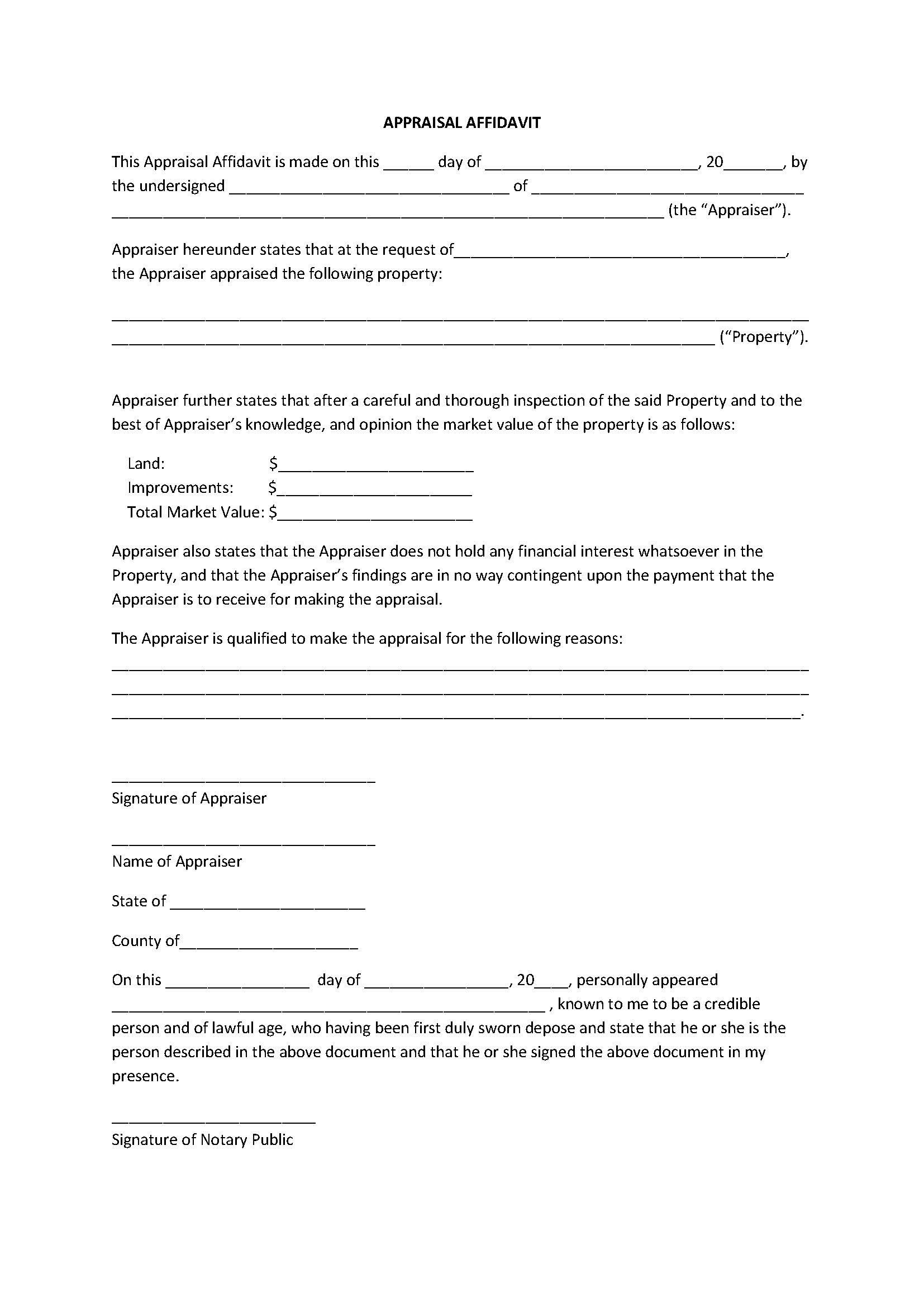 Notary Signature Block Template Appealing Appraisal Affidavit form Template Sample
