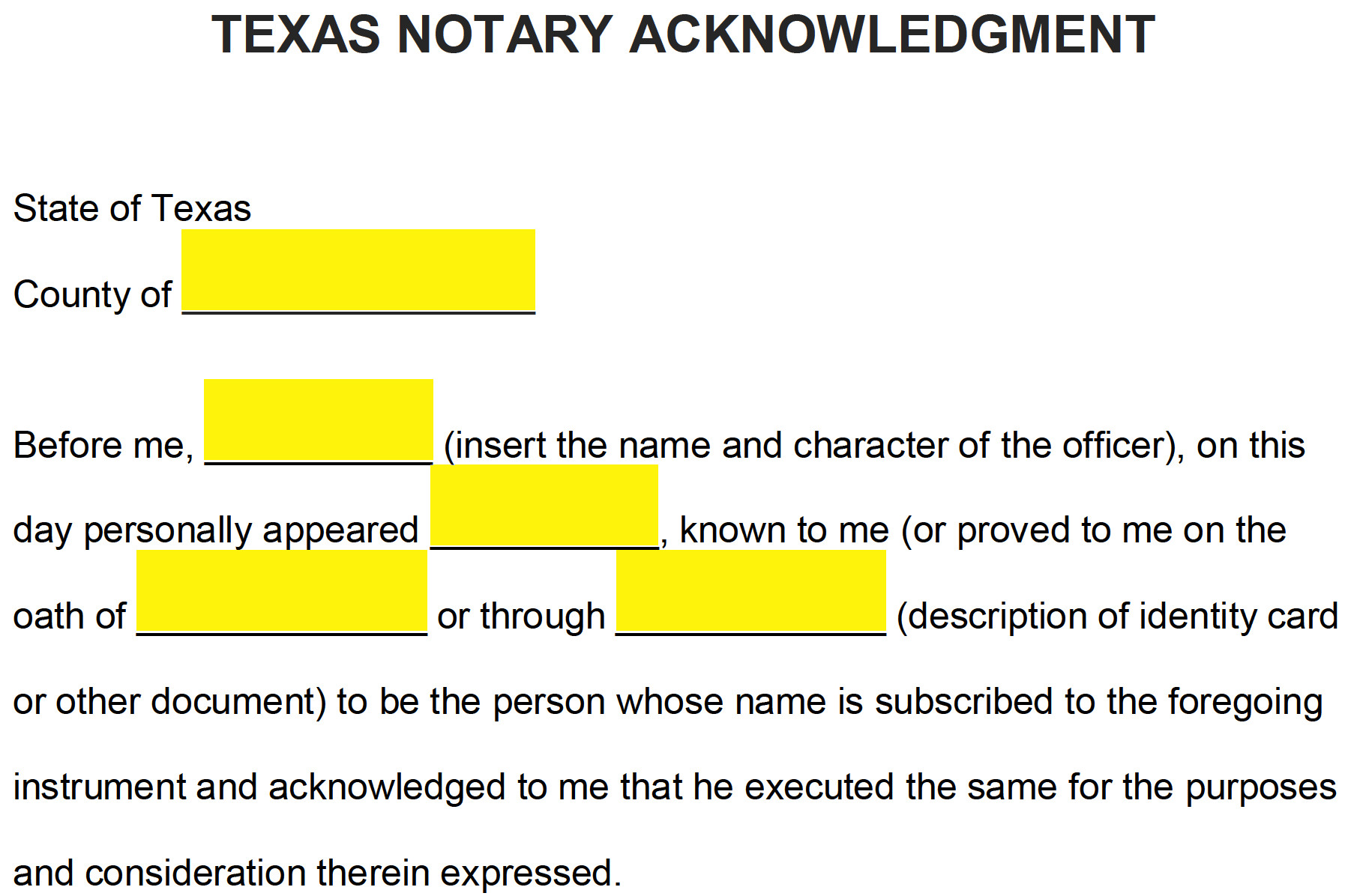 Notary Signature Block Template Free Texas Notary Acknowledgment form Pdf