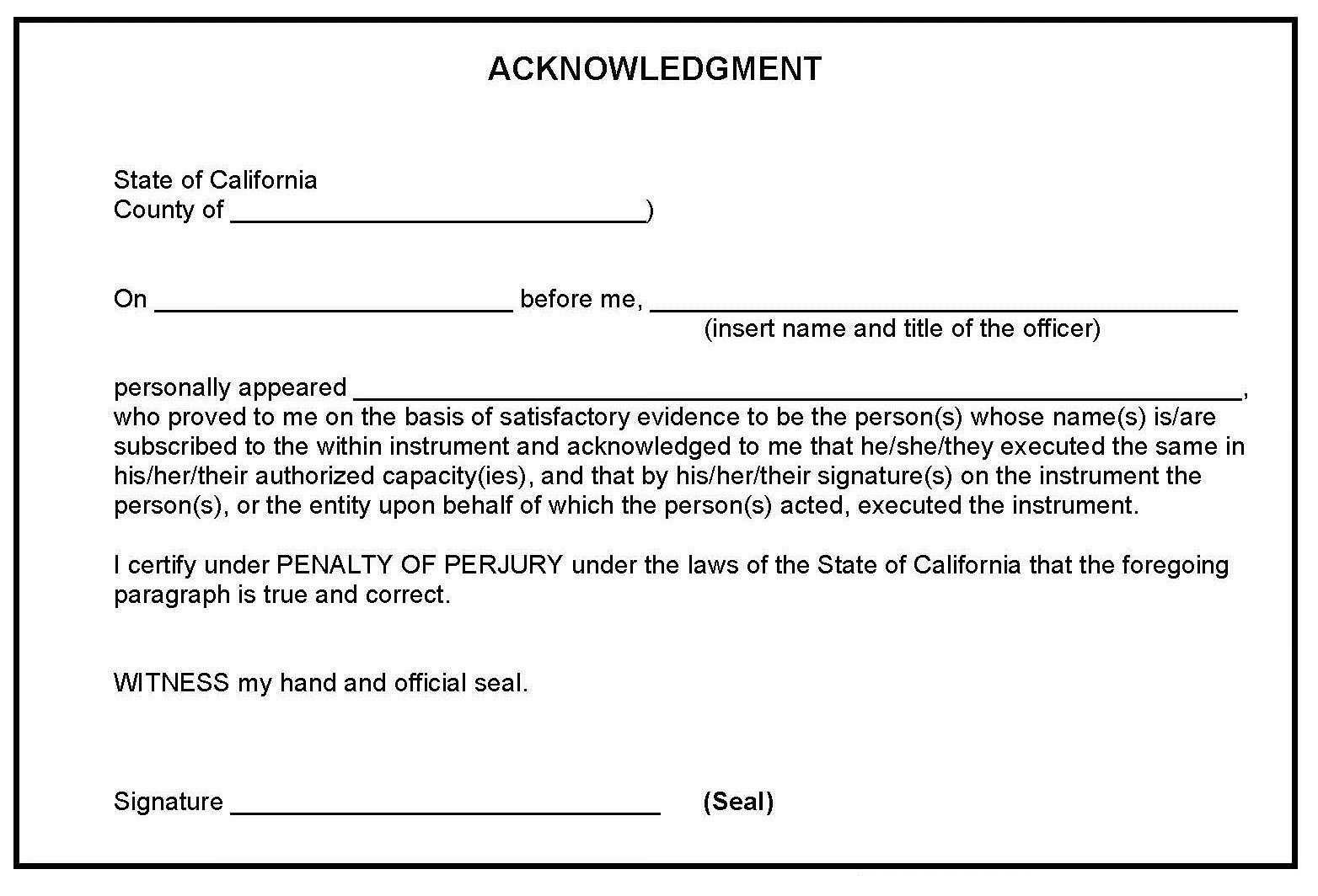 Notary Signature Block Template Notarization Procedure