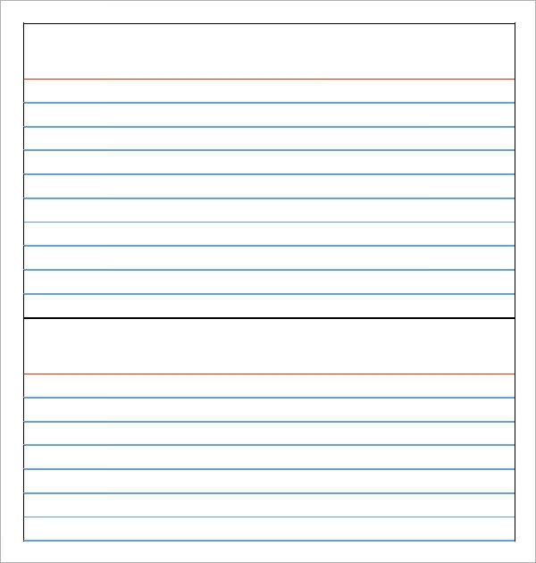Note Card Template Free Note Card Template 9 Download Free Documents In Pdf