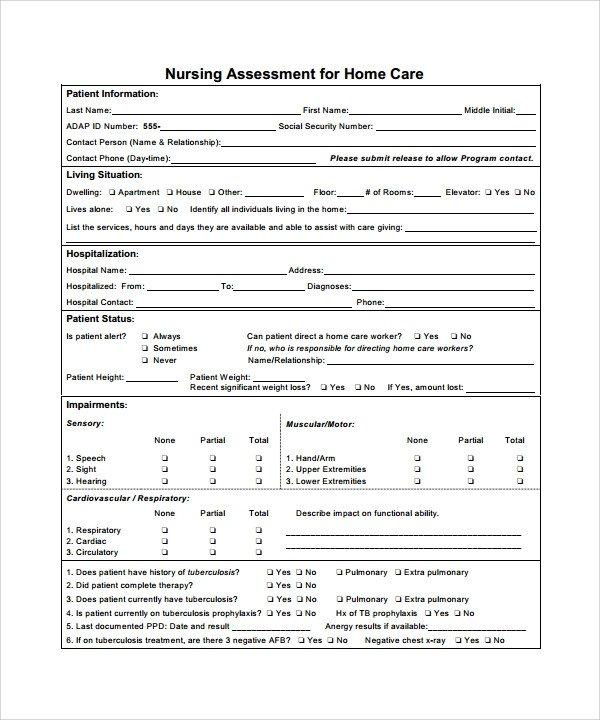 Nursing assessment form Template Career assessment Template 10 Download Free Documents
