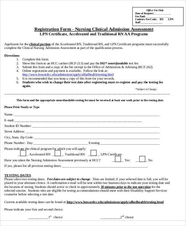 Nursing assessment form Template Nursing assessment form Sample 9 Examples In Word Pdf