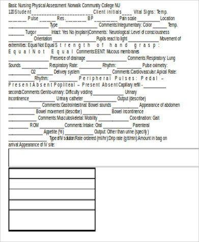 Nursing assessment form Template Nursing assessment Sample form 8 Examples In Word Pdf
