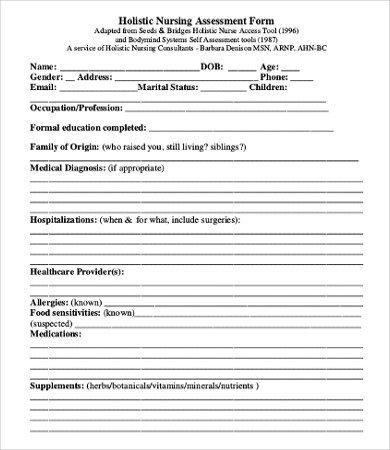Nursing assessment form Template Nursing assessment Template 8 Free Word Pdf Documents