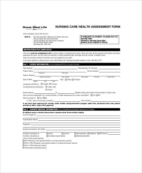 Nursing assessment form Template Sample Nursing assessment form 6 Documents In Pdf