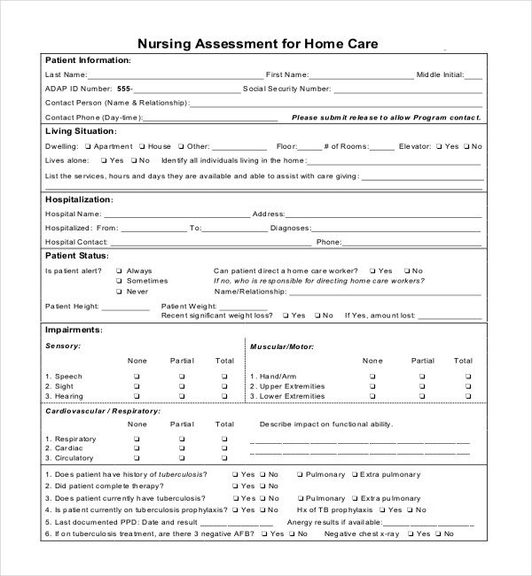 Nursing assessment form Template Sample Nursing assessment forms 7 Free Documents In Pdf