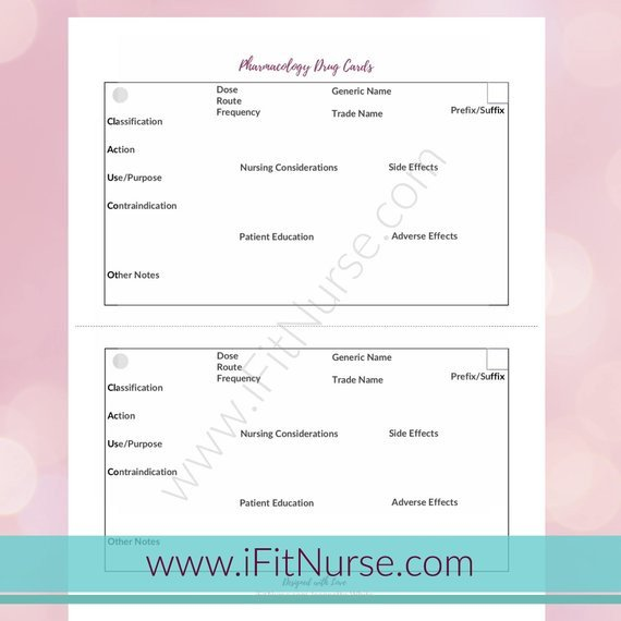 Nursing Drug Card Template Pharmacology Drug Card Template Products
