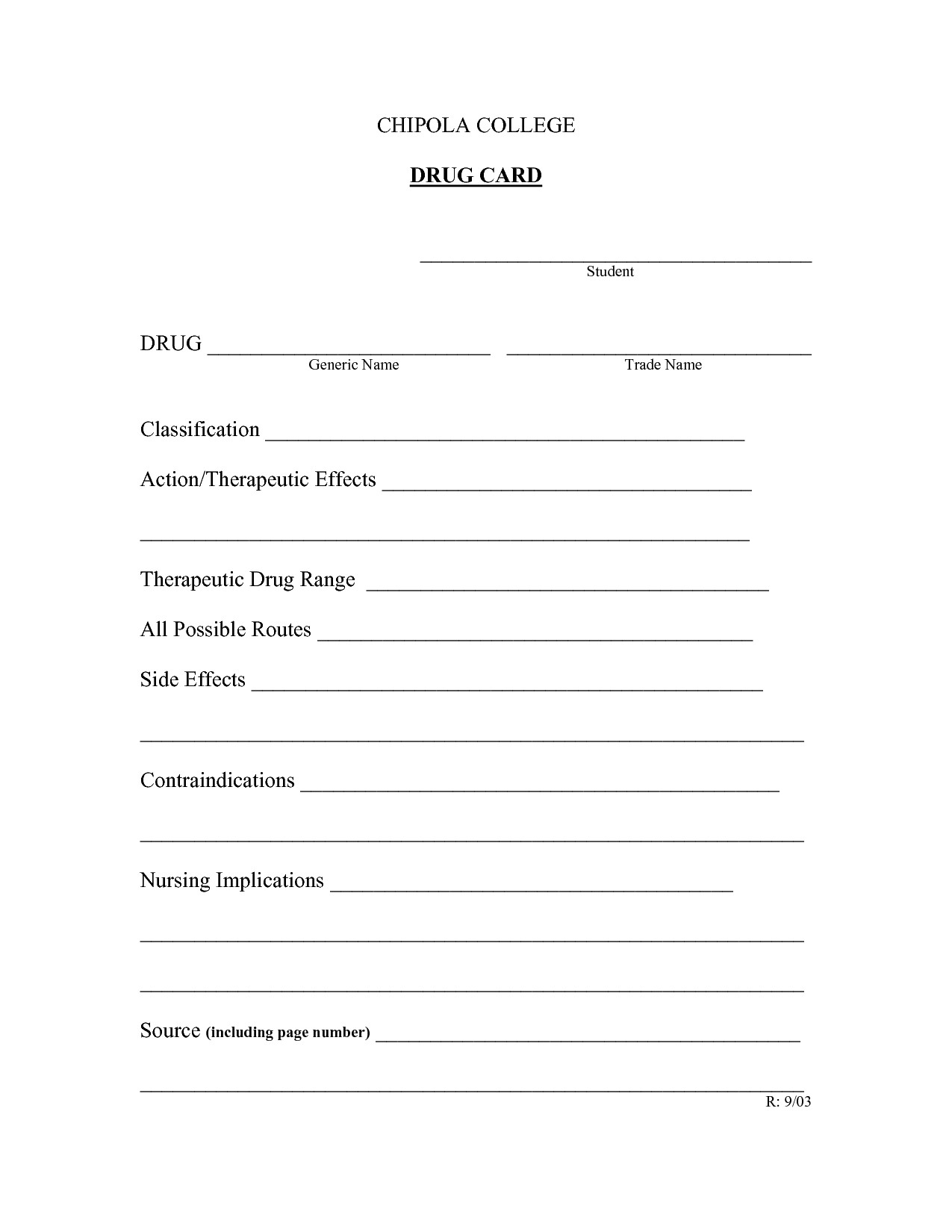 Nursing Drug Card Template Printable Nursing Student Cards
