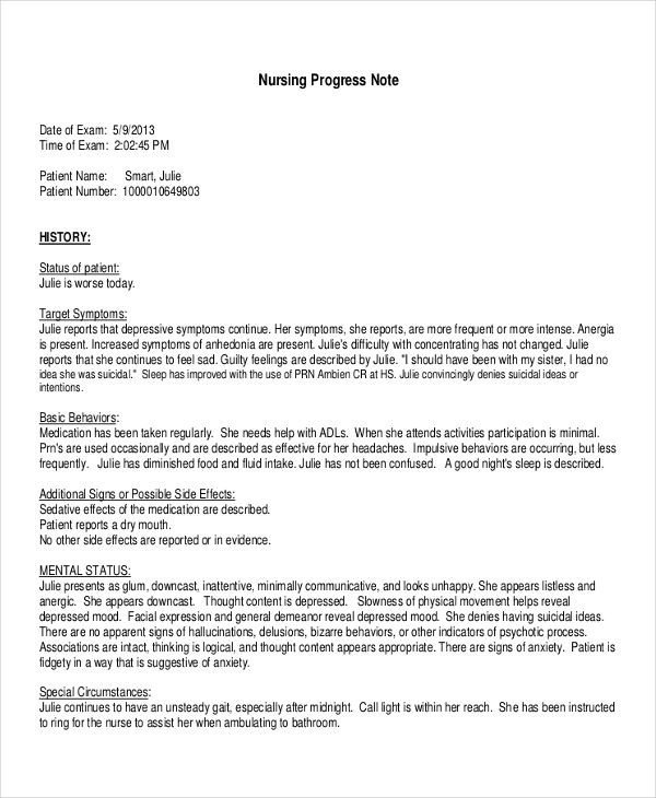 Nursing Progress Notes Examples 19 Progress Note Examples & Samples Pdf Doc