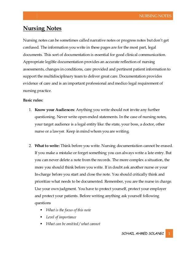 Nursing Progress Notes Examples Nursing Notes