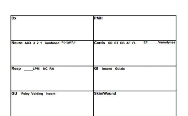 Nursing Report Sheet Template the 10 Best Nurse Brain Sheets