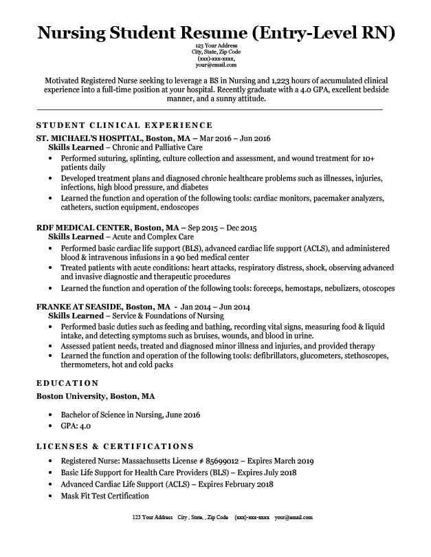Nursing Student Resume Template Entry Level Nursing Student Resume Sample & Tips