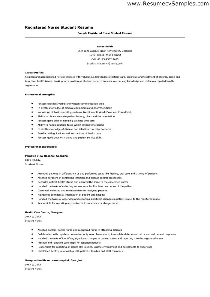 Nursing Student Resume Template Nurse Student Resume