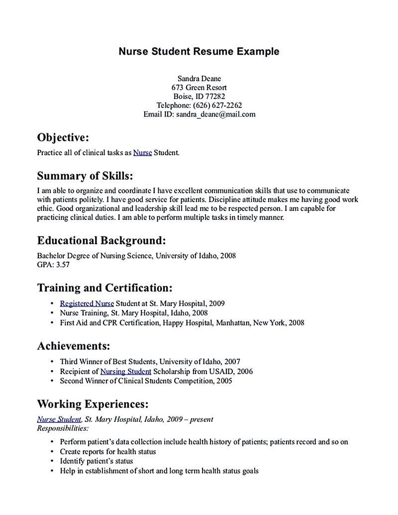 Nursing Student Resume Template Nursing Student Resume Must Contains Relevant Skills