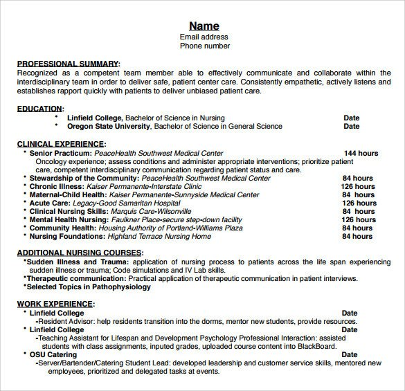 Nursing Student Resume Template Sample Nurse Resume 10 Download Free Documents In Word Pdf