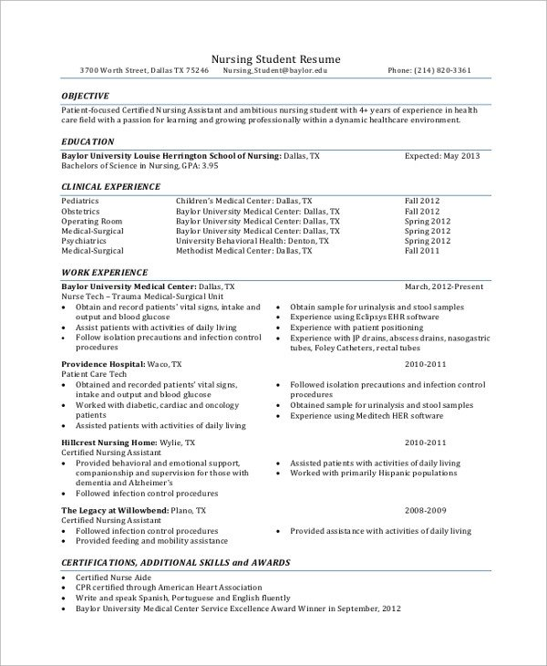 Nursing Student Resumes Examples Sample Student Resume 7 Documents In Pdf Word
