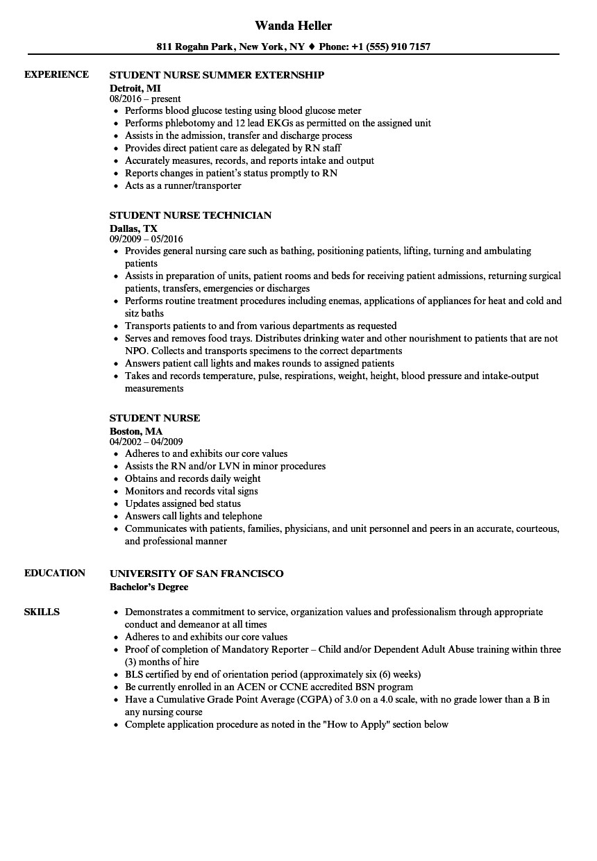 Nursing Student Resumes Examples Student Nurse Resume Samples